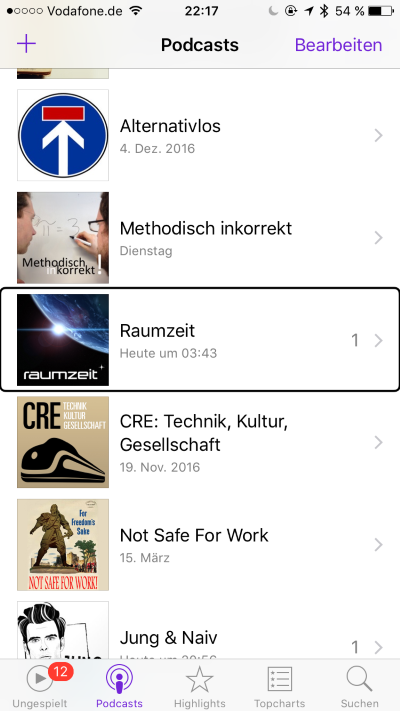 Meine iPhone Podcast Player Übersicht